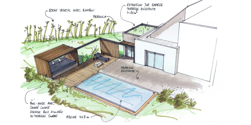 Pool-house et piscine maison L à Nierderschaeffolsheim